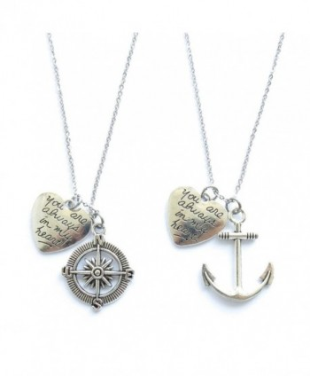 2 Anchor And Compass You Are Always In My Heart Necklace or Keychains Best Friends BFF Sisters Couples - C91243WQT0H