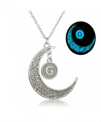 Linsh Initial Necklace Glow in Dark Hollow Out Carved Moon G Letter Pendant Necklace Color: Silver - CW12MG8XR5Z
