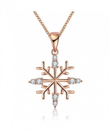KAVANI Snowflake Pendant Necklace Crystal rhinestone as Christmas Gift for Women Girls - Rose Gold Snowflake - C91887QWN7I
