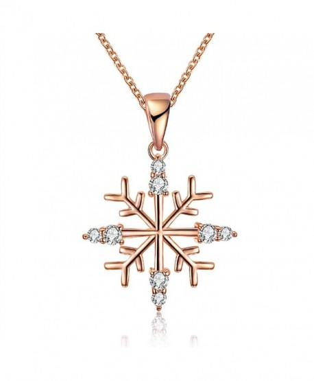 KAVANI Snowflake Pendant Necklace Crystal rhinestone as Christmas Gift for Women Girls - Rose Gold Snowflake - C91887QWN7I