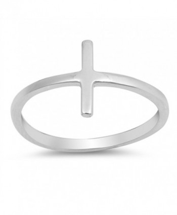 Sideways Cross Bar Stackable Love Ring New .925 Sterling Silver Band Sizes 4-10 - CC184Y6I8DR