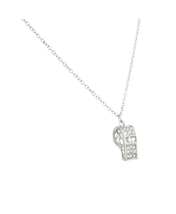 Lux Accessories Whistle Referee Ref Pave Pendant Necklace. - C811R6HYWBP