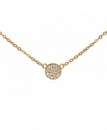 "Tiny CZ Pave Circle Disk Necklace .925 Sterling Silver Rose Gold Tone 16"" - 18"" - CY11QB168NR"