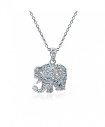 Bling Jewelry Lucky Elephant CZ Pendant Rhodium Plated Necklace 18 Inches - CI119B12RGL