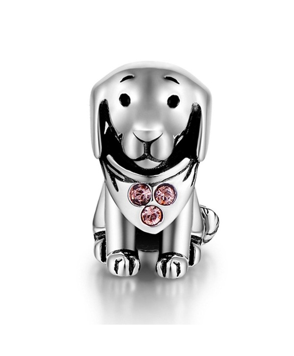 925 Sterling Silver Puppy Dog Animal Charms Crystal Jewelry Bead Fit Bracelets for Women - CB11PL0YZ3J
