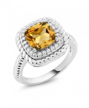 3.00 Ct Cushion Cut Yellow Citrine 925 Sterling Silver Engagement Ring (Available in size 5- 6- 7- 8- 9) - CN182K9Y0T9