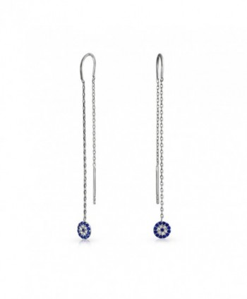 Bling Jewelry 925 Silver Simulated Sapphire CZ Evil Eye Chain Threader Earrings - CD11AE48E65