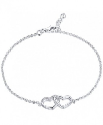 Bracelet YL Sterling Adjustable Bracelet Girls Valentines - Double Heart - CV12N37PKM8