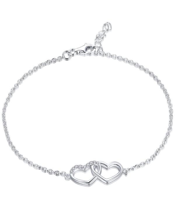 Bracelet YL Sterling Adjustable Bracelet Girls Valentines - Double Heart - CV12N37PKM8