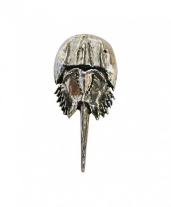 Creative Pewter Designs- Pewter Horseshoe Crab Lapel Pin Brooch- Antiqued Finish- A153 - CQ122XIBILX