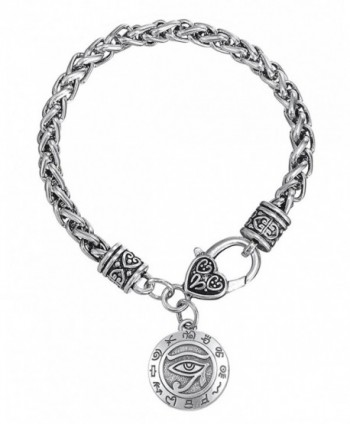 Eye of Horus Ancient Egypt Pendant Bracelets Zinc Alloy Heart Lobster Clasp Wicca Talisman Bangle - C8187MID07Z