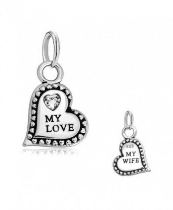 CharmsStory Sterling Silver My Love My Wife Heart Love Charms Beads For Bracelets - CI126GNIWSX