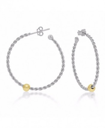 Sterling Silver Ocean side Earrings Twisted Hoop Silver Body Gold Tone Ball with CZ - CP11VG8159H