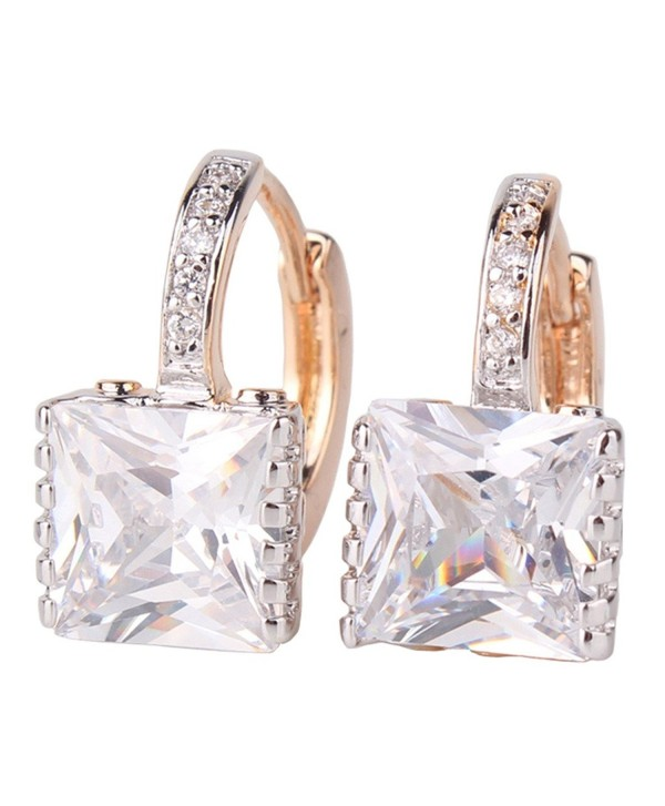 GULICX Gold Tone White CZ Zircon Sparkle Crystal Square Hoop Earrings for Women - CO1218S1RBF