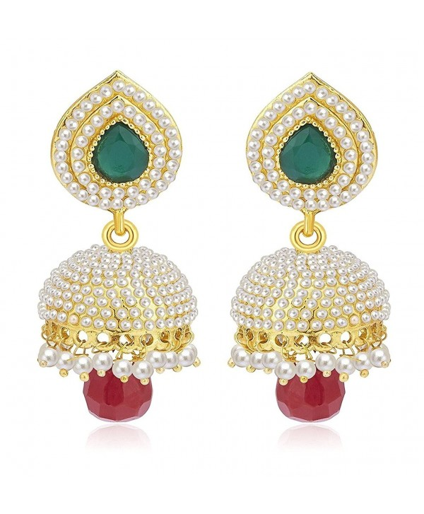 Crunchy Fashion Bollywood Style Traditional Indian Jewelry Jhumki Jhumka Earrings for Women - CC18390XG9T