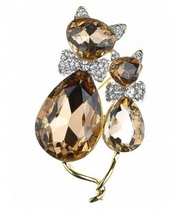 Alilang Adorable Cute Light Smoked Topaz Crystal Rhinestone Kitty Cat Animal Pin Brooch - CQ117MBC6QN
