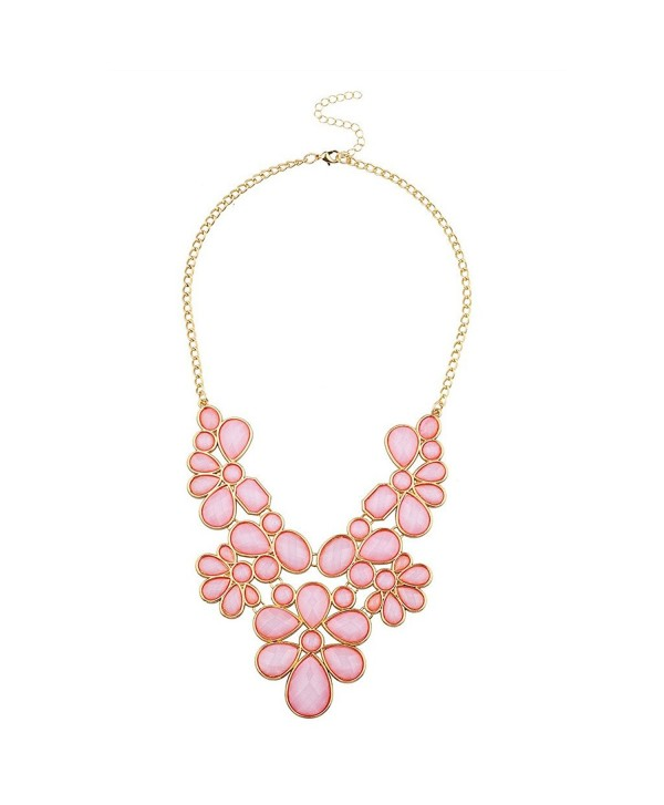 Lux Accessories Womens Tribal Flower Bib Chunky Statement Necklace - Pink - CW12F789AN3