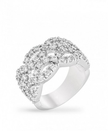Genuine Rhodium Plated Cocktail Ring with Round Cut Clear Cubic Zirconia Accents in a Braided Design - CE12LC5639F