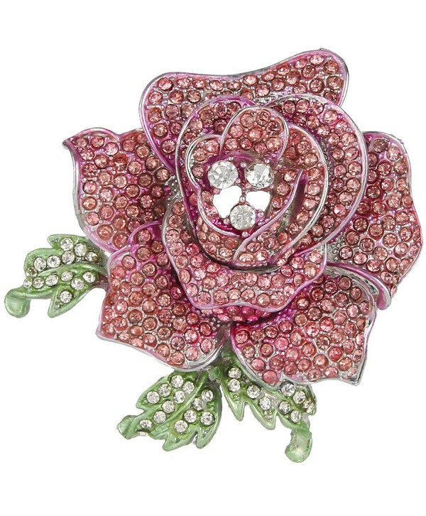 EVER FAITH Women's Austrian Crystal Blooming Beautiful Rose Flower Brooch - Pink Silver-Tone - CH11ZH5MKUN