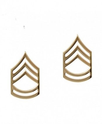 E-7 Sergeant SGT 1st First Class Army Collar Brass Pins Insignia (2) Polished Gold MADE IN USA- Certified - CQ115T88GG5