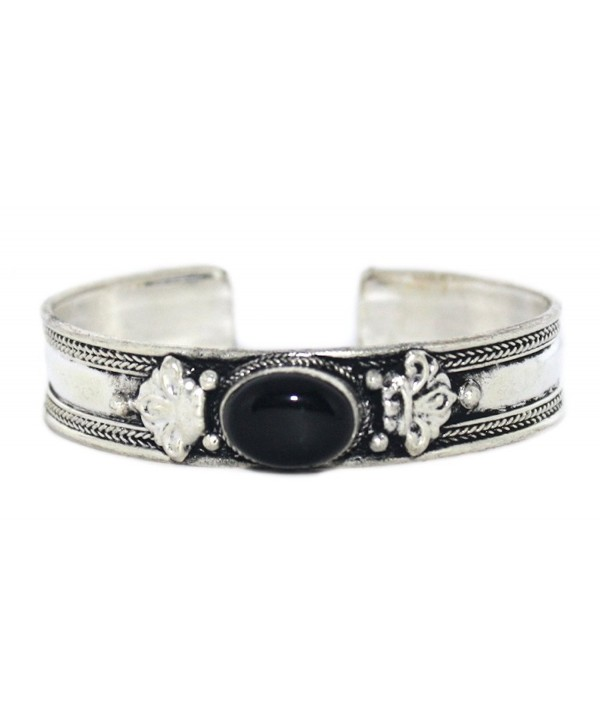 Onyx Bracelet- Navajo Cuff Bracelet- Boho Bracelet- Yoga Bracelet BB163 - CO12IJVIWML