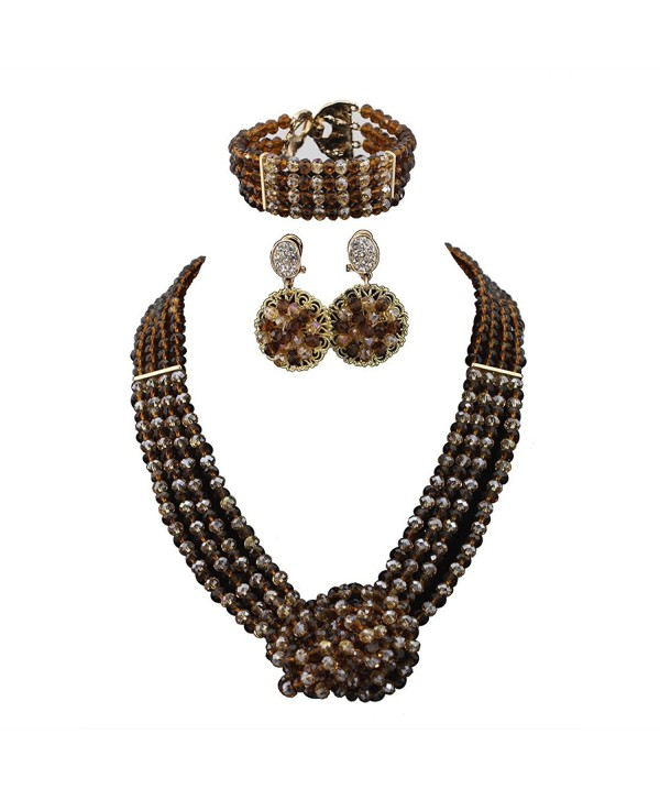 Africanbeads Crystal Necklace Nigerian Wedding - Brown and Gold - CJ12MFCU3B3