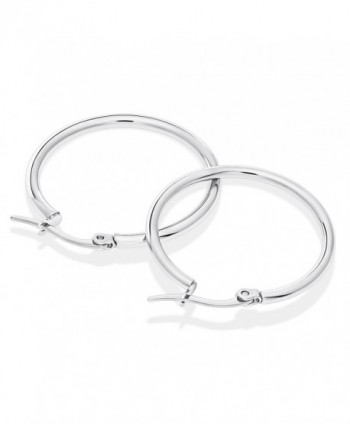 Stainless Steel Hoop Earrings 30mm in Women's Hoop Earrings