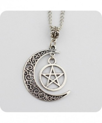 "Silver Pentagram Crescent Moon Pendant - ""  Silver "" - CJ11XFX7PA3"