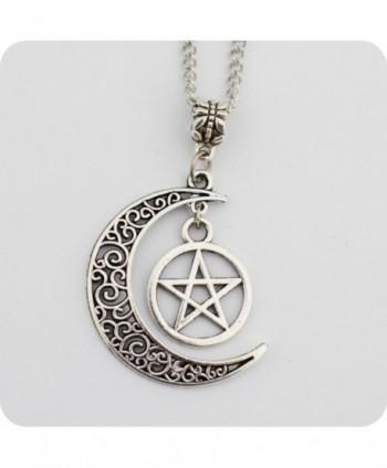 Silver Pentagram Crescent Moon Pendant