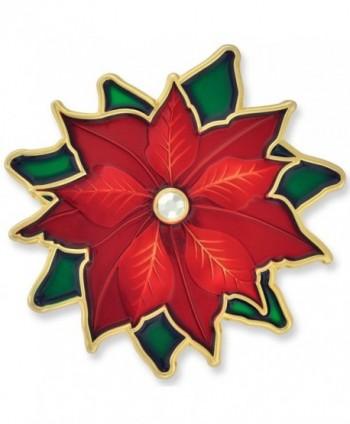 PinMart's Christmas Poinsettia Rhinestone X-Mas Holiday Enamel Brooch Pin - CV12NH7F73S