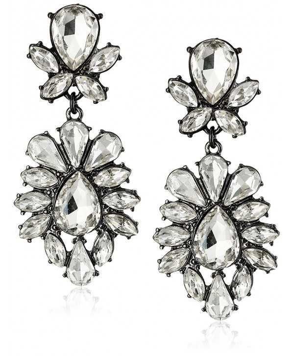Lux Accessories Bridal Gunmetal Tear Drop Clear Rhinestone Statement Earrings - CA11NI7W061