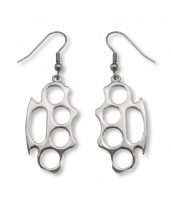 Brass Knuckles Polished Silver Finish Pewter Earrings - CK11J92PJDF