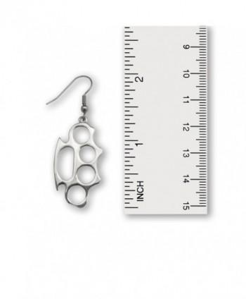 Knuckles Polished Silver Finish Earrings in Women's Drop & Dangle Earrings