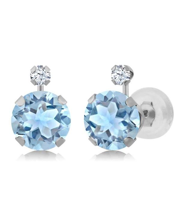 2.47 Ct Round Sky Blue Topaz White Created Sapphire 14K White Gold Earrings - C711OWHV1AV