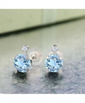 Round Topaz Created Sapphire Earrings in Women's Stud Earrings