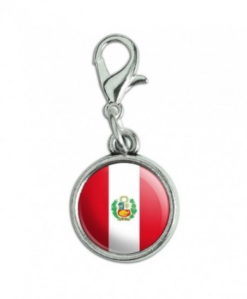 Antiqued Bracelet Pendant Lobster National - Peru With Seal National Country Flag - CW12MZNDB9C