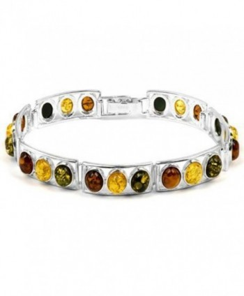 Sterling Silver Multicolor Oval Amber Link Bracelet Length 7.25 Inches - CK1113765TB