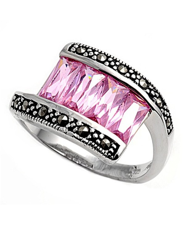 CHOOSE YOUR COLOR Sterling Silver Vintage Ring - Pink Simulated Topaz - CI187Z5MK46
