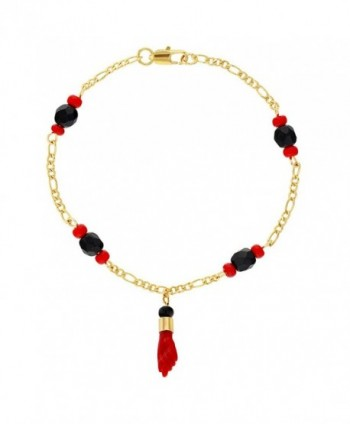 "18K Gold Plated Red Figa Hand Amulet Protection Evil Eye Bracelet 6.5"" - C817Y7I2Y94"