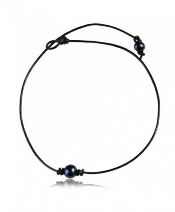 Single Genuine Black Peacock Pearl Choker Necklace on Black Leather Cord for Women - CX12MXX8P2A