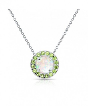 Sterling Silver Simulated White Opal and Simulated Gemstone Round Halo Necklace - Simulated Peridot - CH185OC9U2A