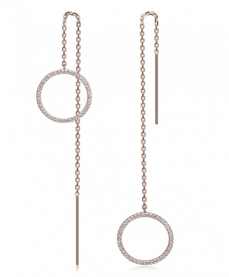 """Ciunofor Long Threader Drop Dangle Earrings Gold/Rose Gold Plated-5"""" - Red - CL184WG86ES"""