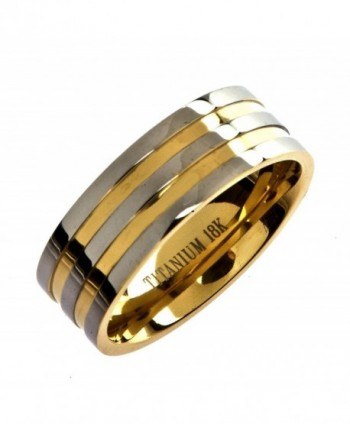 MJ Titanium 18k Gold Plated Wedding Band Comfort Fit 8mm Wide Ring - CA17YSIDSRR
