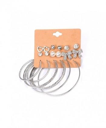 Cyntan Multiple Punk Hoop Earring Set Synthetic Pearls Stud Earrings Set For Women Silver Tone - Silver 2 - CT186IW3MAM