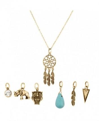 Lux Accessories Tribal Dreamcatcher Leaf Owl Elephant Spear Arrow Interchangeable Pendant Necklace - CU11WJLETBV