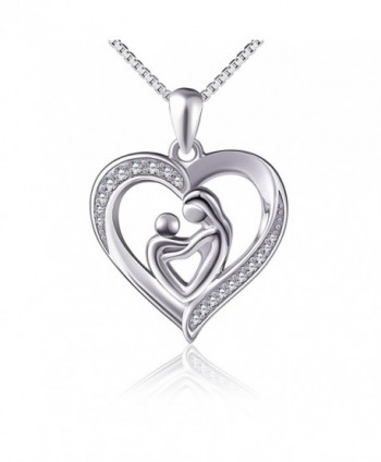 "(Mother Holding Child) Sterling Silver Mothers Love Heart CZ Pendant Women Necklace 18"" - CZ12N6FO7GA"