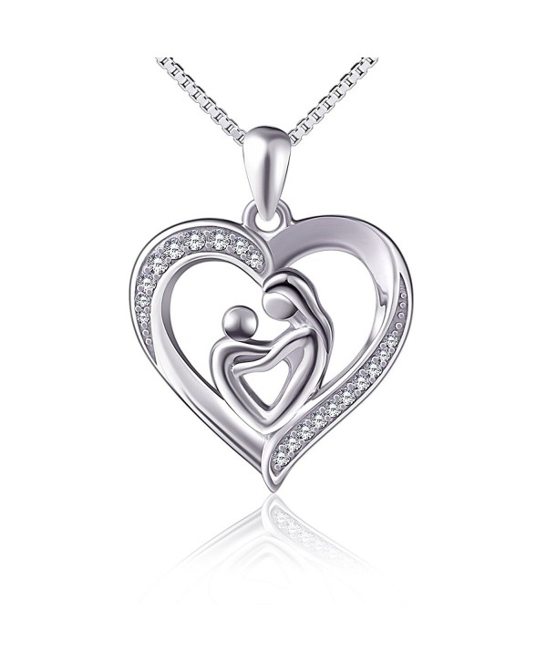"""(Mother Holding Child) Sterling Silver Mothers Love Heart CZ Pendant Women Necklace 18"""" - CZ12N6FO7GA"""