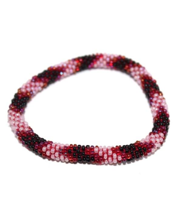 Crochet Glass Seed Bead Bracelet Roll on Bracelet Nepal Bracelet SB252 - CY127W64F3T