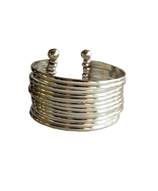 Silver Plated Stacking Easy Elegance Wide Cuff Bracelet - CD128GNH4UN