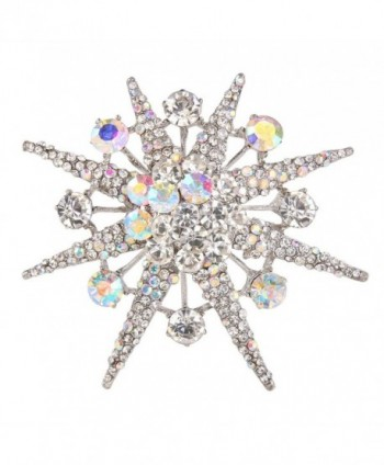 EVER FAITH Snowflake Star Brooch Iridescent Clear AB Austrian Crystal - CK11FMDGZTR